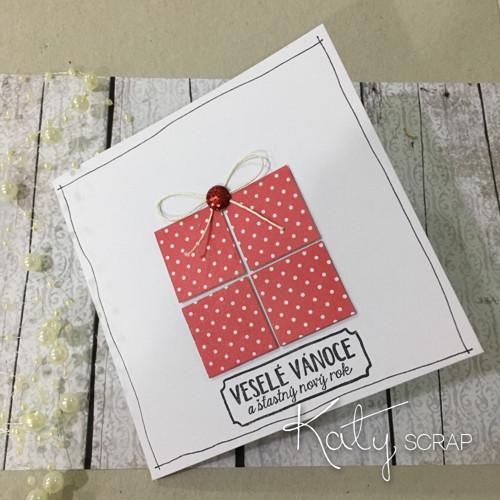 PŘÁNÍ / s dárečkem - puntíky na červené